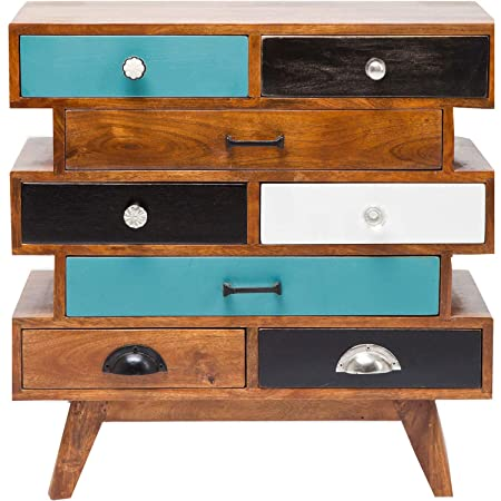 THD The Home Dekor LAMINO Solid Wood Chest of Eight Drawers Bedroom Cabinet, Natural Finish