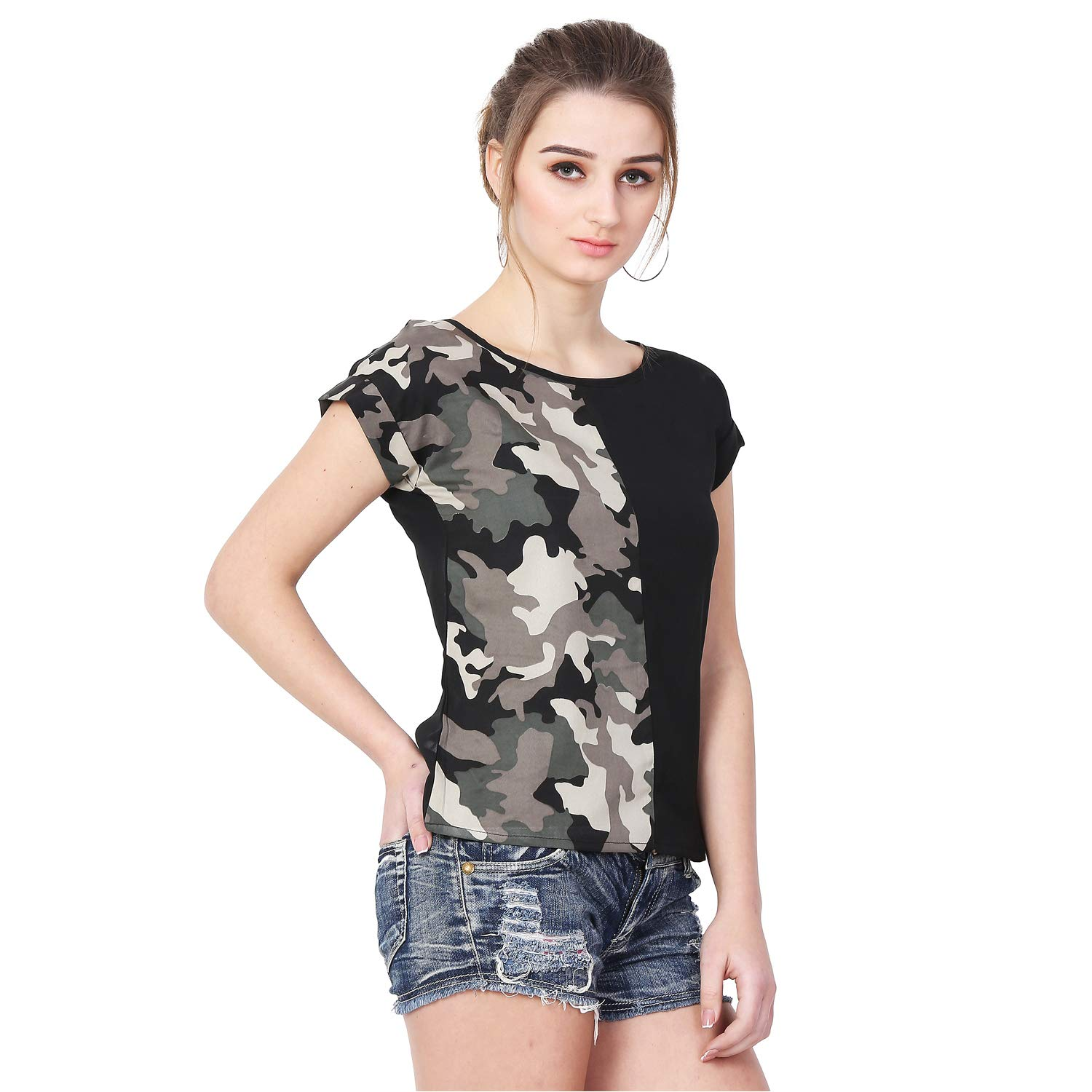 7c55b23f MALLORY WINSTON Women Black with Army Print top.: Amazon.in: Clothing &  Accessories