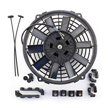 ACP 8 12v Push Type Radiator Cooling Fan With Straight Blades Mounting Kit