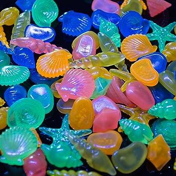 UEETEK efecto de resplandor de 60pcs Resina Guijarro guijarros en la oscuridad para la decoración del tanque de peces de acuario (Color mezclado): ...