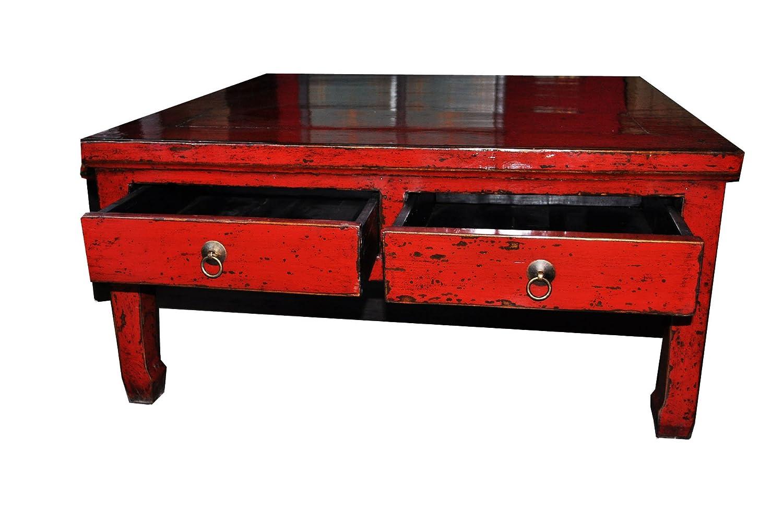 Opium Outlet Antiker Tisch Coffeetable Opiumtischchen Holz 100 Jahre alt rot aus China