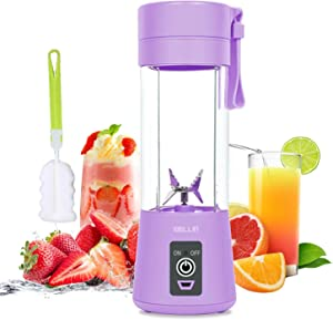 WELLIN Portable Blender, Personal Blender Shakes and Smoothies, Mini Blender Juicer Cup Rechargeable with USB, Home Office Sports Travel Outdoors, Six 3D Blades, 380ml