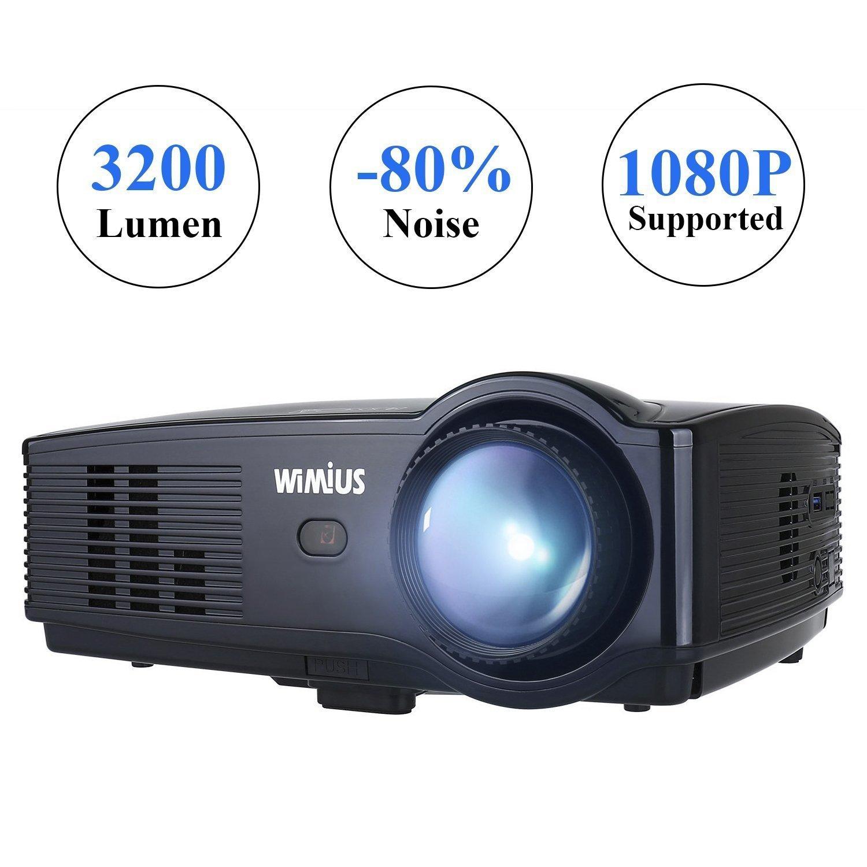 Proiettore Portatile, WIMIUS T4 3200 Lumen Videoproiettore Full HD LCD 1280*800 Multimedia per Home Theater/Home Cinema con TV/AV/VGA/USB/HDMI (Nero)