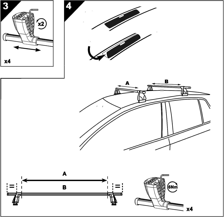 Aurilis Dachtr/äger Easy ONE kompatibel mit BMW Serie 3 F30 4 T/ürer ab 2012