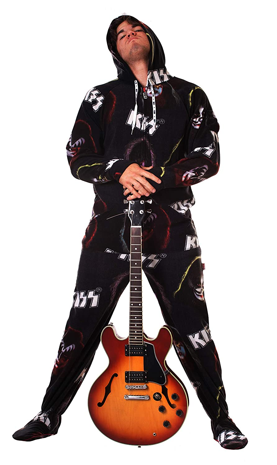 Jumpin Jammerz KISS Rock Gods Hooded Adult Onesie Footed Pajamas