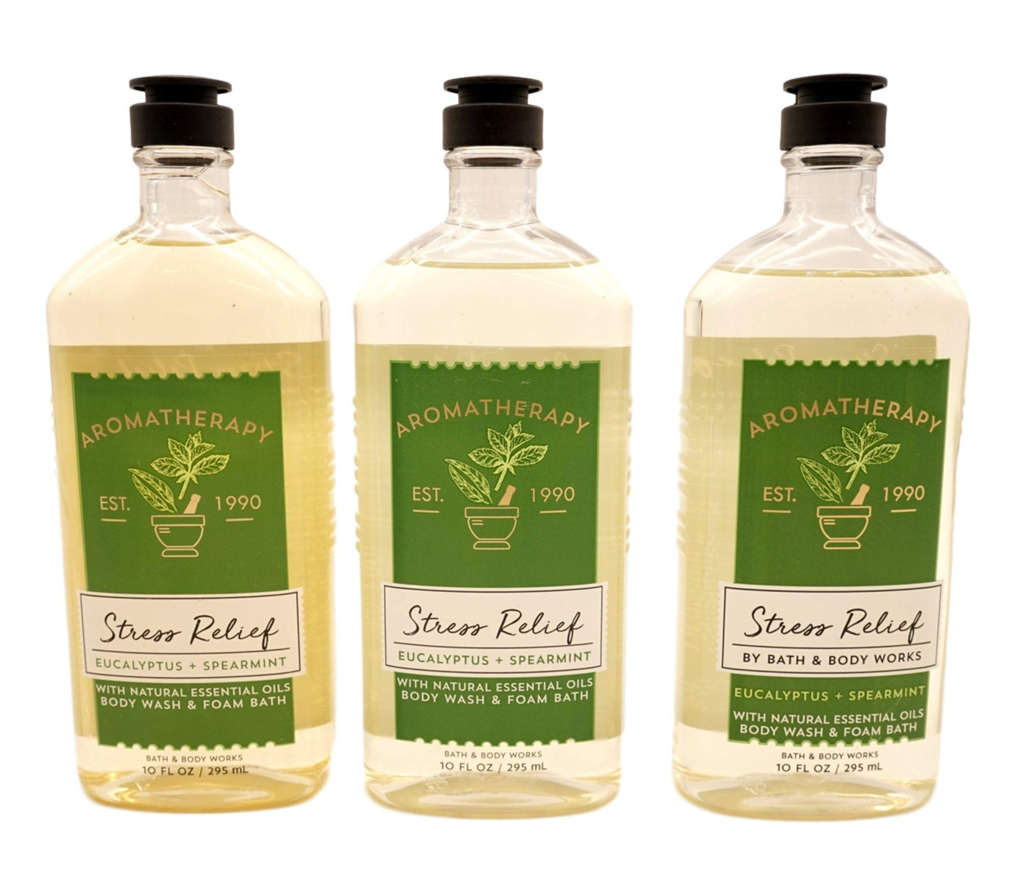 Bath & Body Works Aromatherapy Eucalyptus Spearmint Stress Relief Body Wash & Foam Bath, 10 fl oz per Bottle (3 Pack)