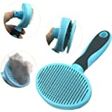 Hesiry Cat Brush Pet Soft Brush for Shedding Removes Loose Undercoat,Slicker Brush for Pet Massage-Self Cleaning