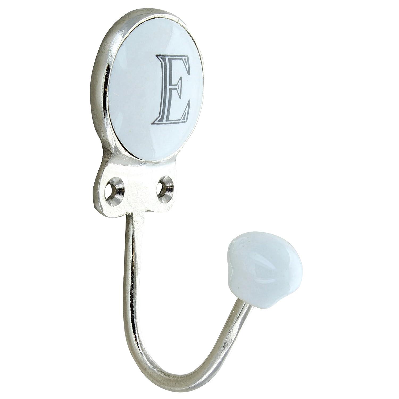 G Decor Alphabet Number Letter Ceramic Vintage Shabby Chic Coat Hook Porcelain (E) Door Ironmongery Ltd