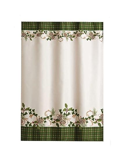 Pinehurst Winter Fabric Shower Curtain And Matching Pinecone Hook Set