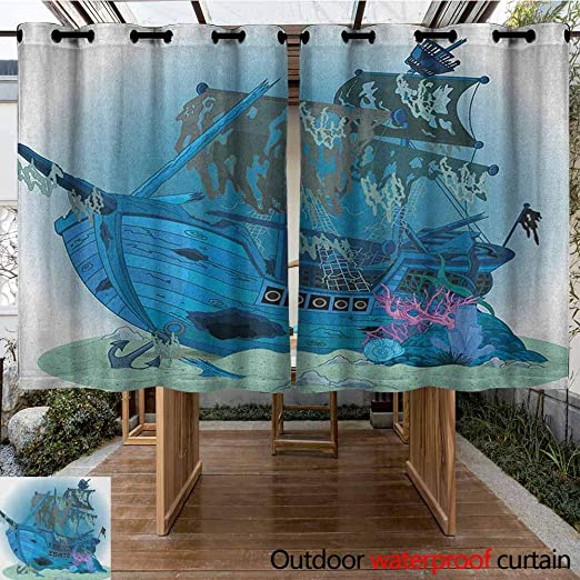 AndyTours - Cortina de pérgola, Barco Pirata, Barco Antiguo en majestuoso Paisaje de Atardecer, Aguas Tropicales, Estilo Sencillo, Color Negro salmón Azul Oscuro: Amazon.es: Jardín