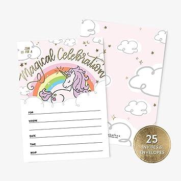 Amazon.com: 25 invitaciones de cumpleaños de unicornio y ...