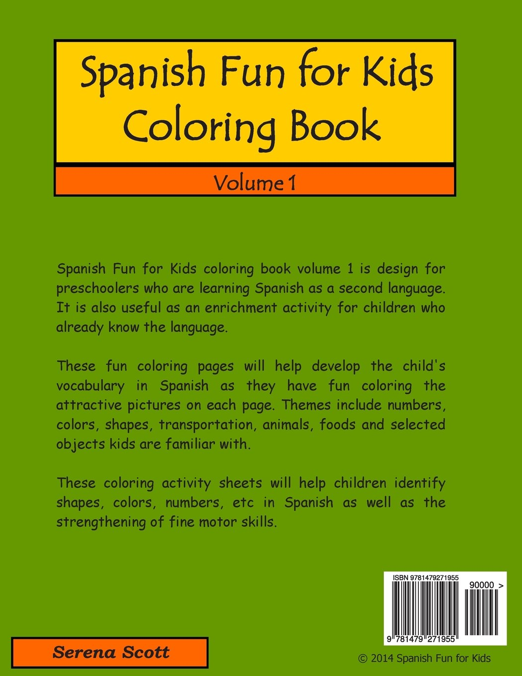 Spanish Fun for Kids Coloring Book (Volume 1) (Spanish Edition ...