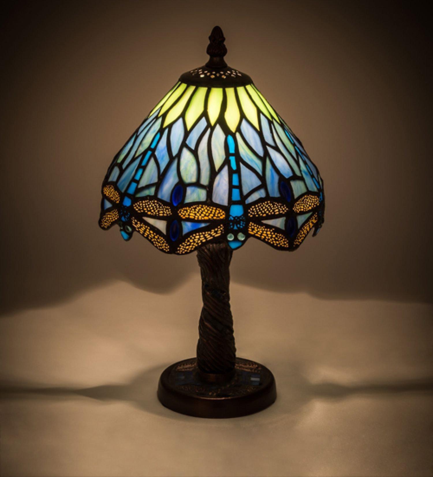 StarSun Depot 12'' H Tiffany Hanginghead Dragonfly W/Mosaic Base Mini Lamp Damp