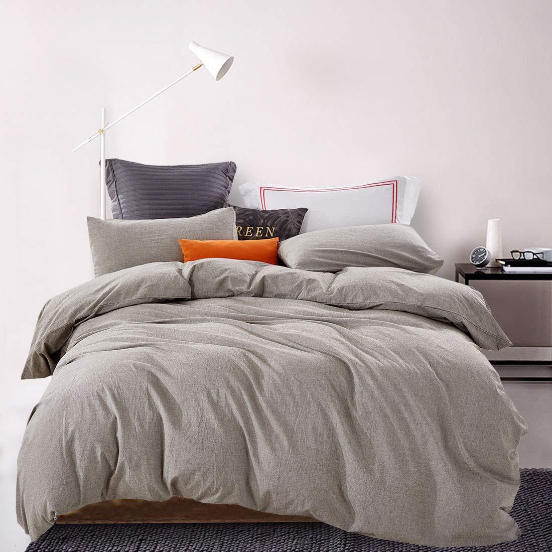 ATsense Duvet Cover Sets, 100% Washed Cotton, Queen 3-Piece Bedding Duvet Cover, Simple Style Farmhouse Bedding Set (Grey 7063)