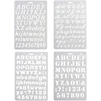 Pack of 4 Plastic Alphabet Letter Number Drawing Painting Stencils Scale Template Sets for Bullet Journal Stencil…