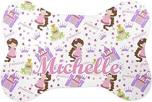 YouCustomizeIt Princess Print Bone Shaped Dog Food Mat (Small) (Personalized)