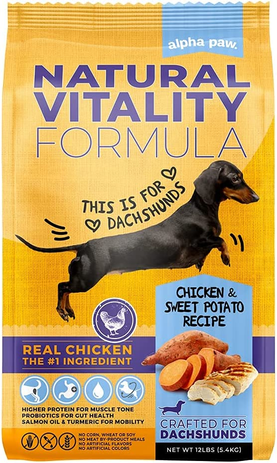 Alpha Paw Adult Natural Dry Dog Food Specially Formulated for Dachshunds, with Real Chicken and Sweet Potato Flavor (12 lbs)
