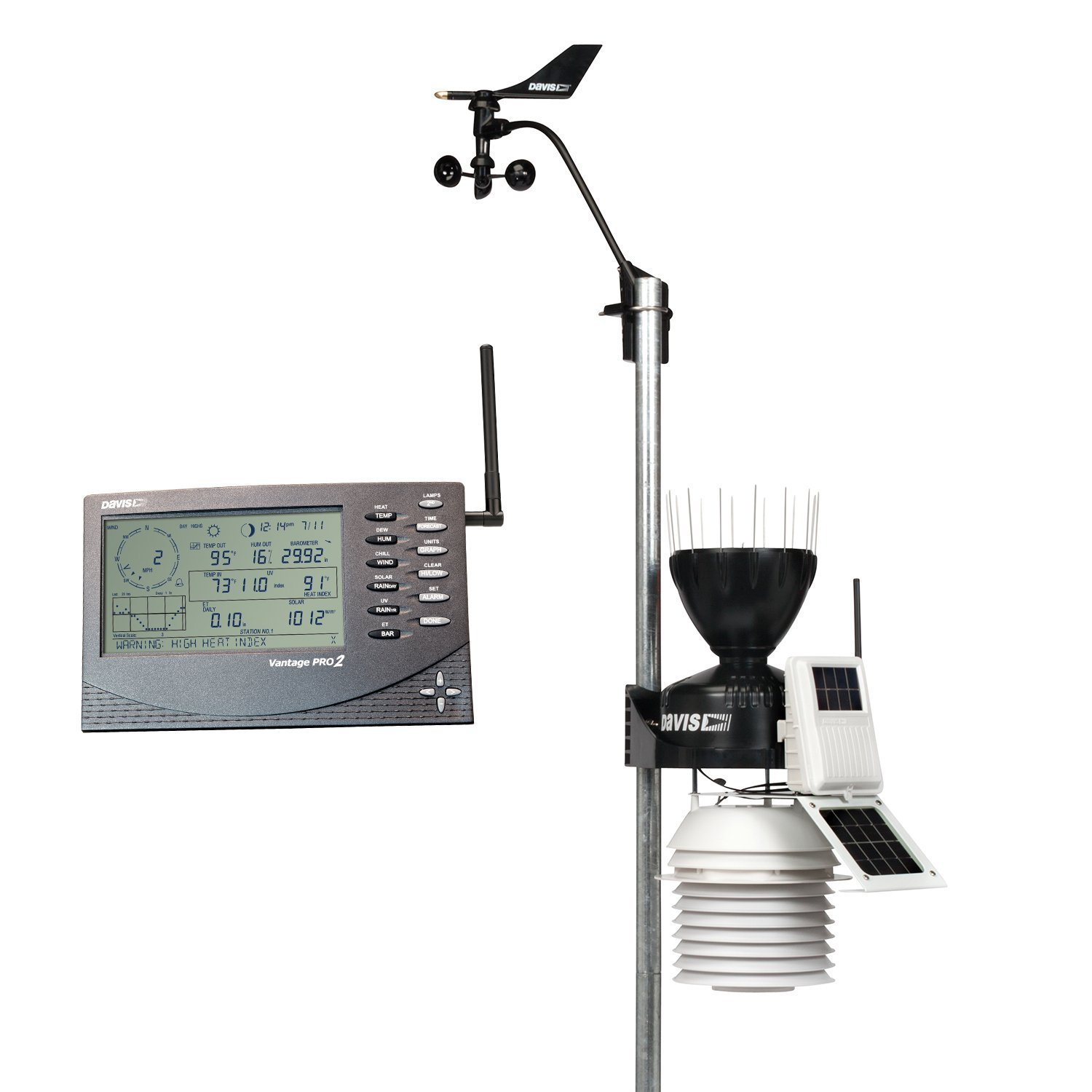Davis Instruments 6153 Vantage Pro2 Wireless Weather Station with 24-Hour Fan Aspirated Radiation Shield and LCD Display Console