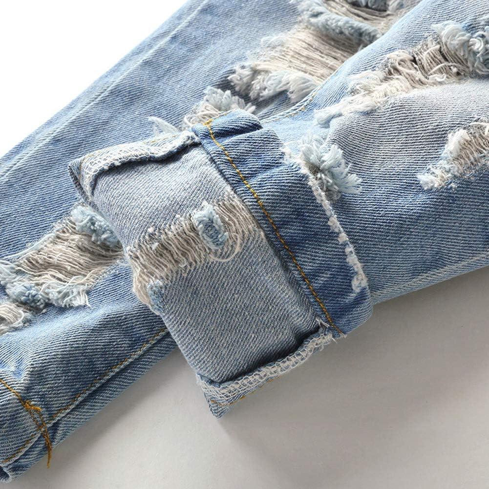 LAPLBEKE Bambino Ragazzi Jeans Pantaloni 4 Tasche Strappati Vita Elastica Pantaloni Casual Primavera e Autunno Denim Pants