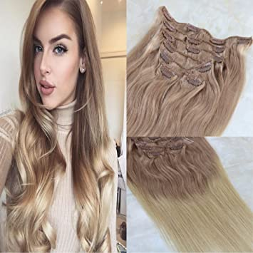 Amazon Com Hairdancing 14 7pcs 120g Ombre Color 18 Ash Blonde To