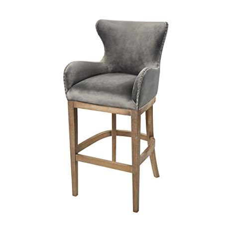 Outstanding Amazon Com Hamptons Collection Roxie Grey Bar Chair Caraccident5 Cool Chair Designs And Ideas Caraccident5Info