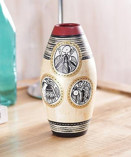 Buy Vareesha Simmer Gold Terracotta Vase Hand Painted Using Warli