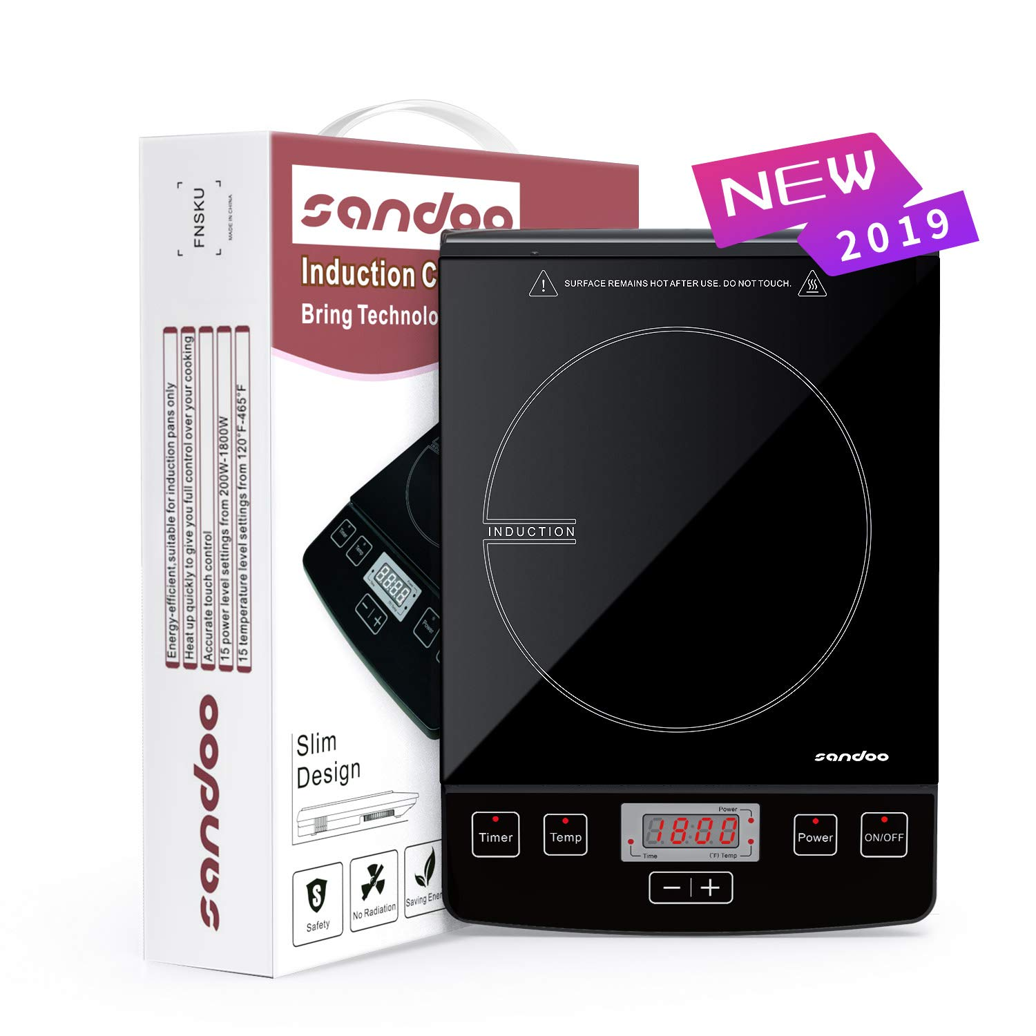 Sandoo HA1865 Induction Cooktop, 1800W Portable Light Weight Countertop Burner, Digital Electric Cooker Burner, with Timer 15 Temperature Power Setting, Suitable for Home Kitchen, RV, Apartment