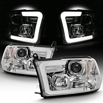 amazon com: for 2009-2018 dodge ram 1500 2500 3500 led daytime running  light bar projector headlights chrome housing clear lens set: automotive