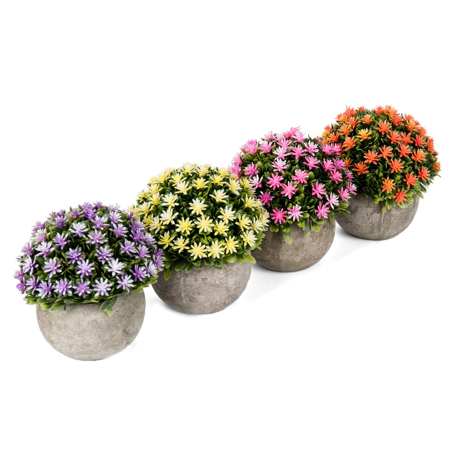 Green UArtlines 4 Pack Artificial Plastic Mini Plants Topiary Shrubs Fake Plants with Gray Pot for Bathroom,House Decorations,2 Styles
