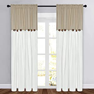 Farmhouse Cotton Blend Curtains, Rustic Country Color Block Curtain Panels, Boho Button Rod Pocket Window Drapes for Bedroom Living Room Decor, Set of 2 Panels, Linen Color, 52 x 84 Inch Length