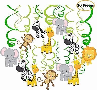 Amazon.com: 30 ct Jungle Animales colgantes remolinos ...