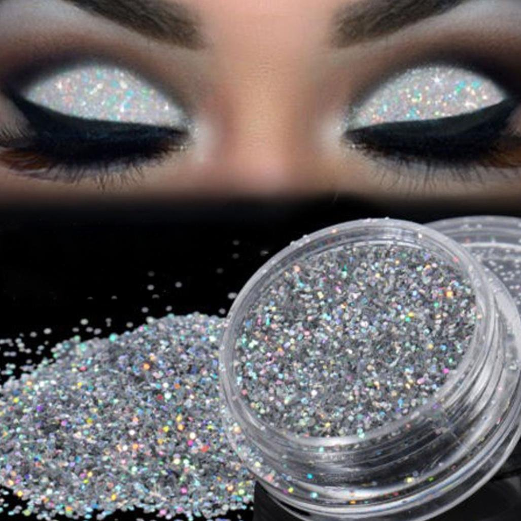 Remiel Store Sparkly Holographic Glitter Loose Silver Pearl Eye Eyeshadow Makeup Powder (Silver)