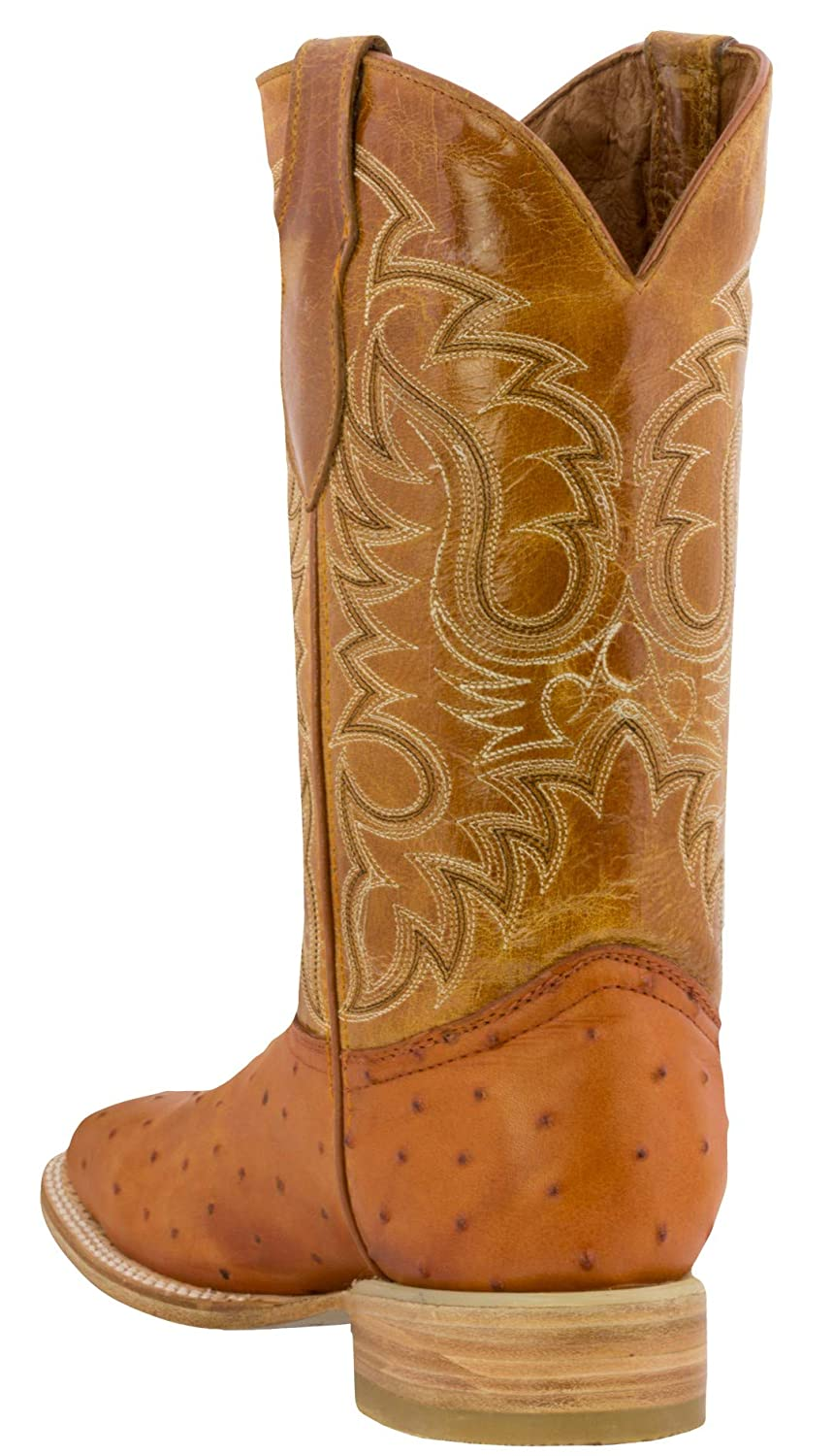 Texas Legacy Mens Ostrich Quill Design Leather Cowboy Boots Square Toe