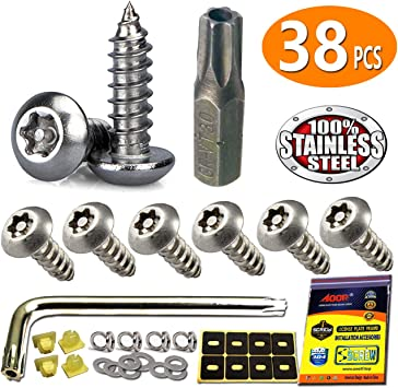 BLACK TOYOTA SECURITY Anti Theft luxury Auto License Plate Screws Stainless bolt