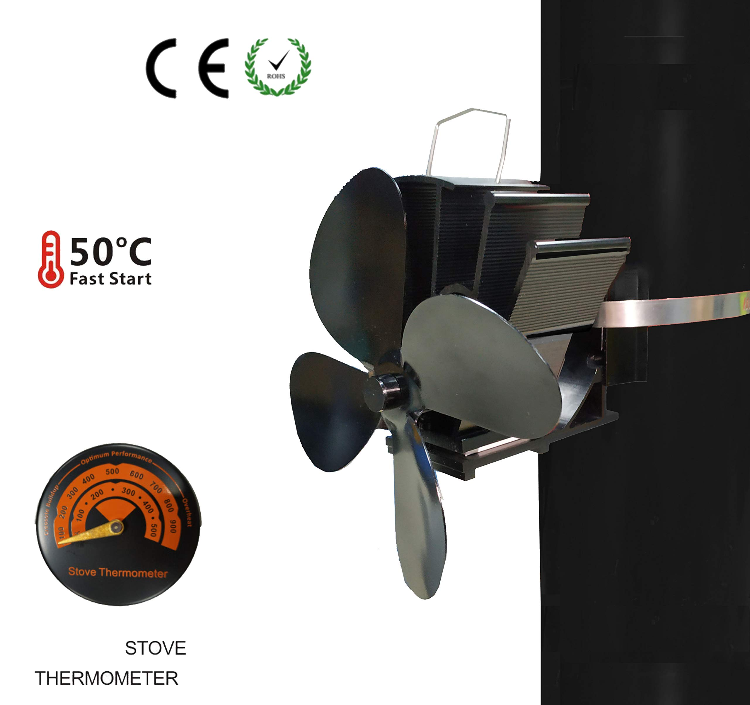 SISIDZ 4 Blades Flue Pipe Stove Fan Heater Powered Fixed on The Chimney Pipe of Wood/Log Burner/Fireplace with Free Thermometer Black by SISIDZ