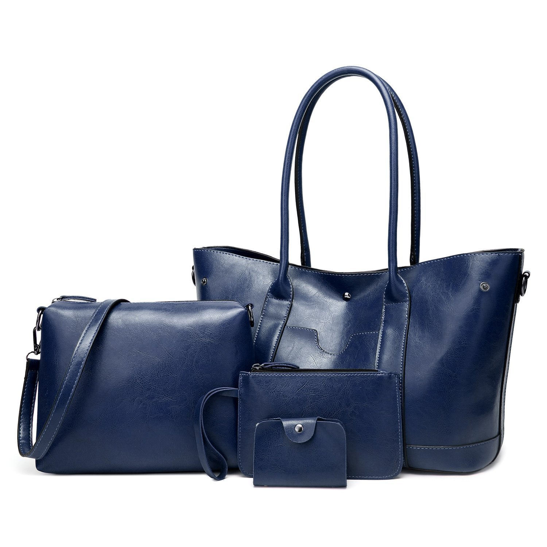 ELIMPAUL Women Purse Vintage stylish Handbags Synthetic Leather Top hands bag Shoulder Bags 4pcs Tote Bag (Navy blue-B)