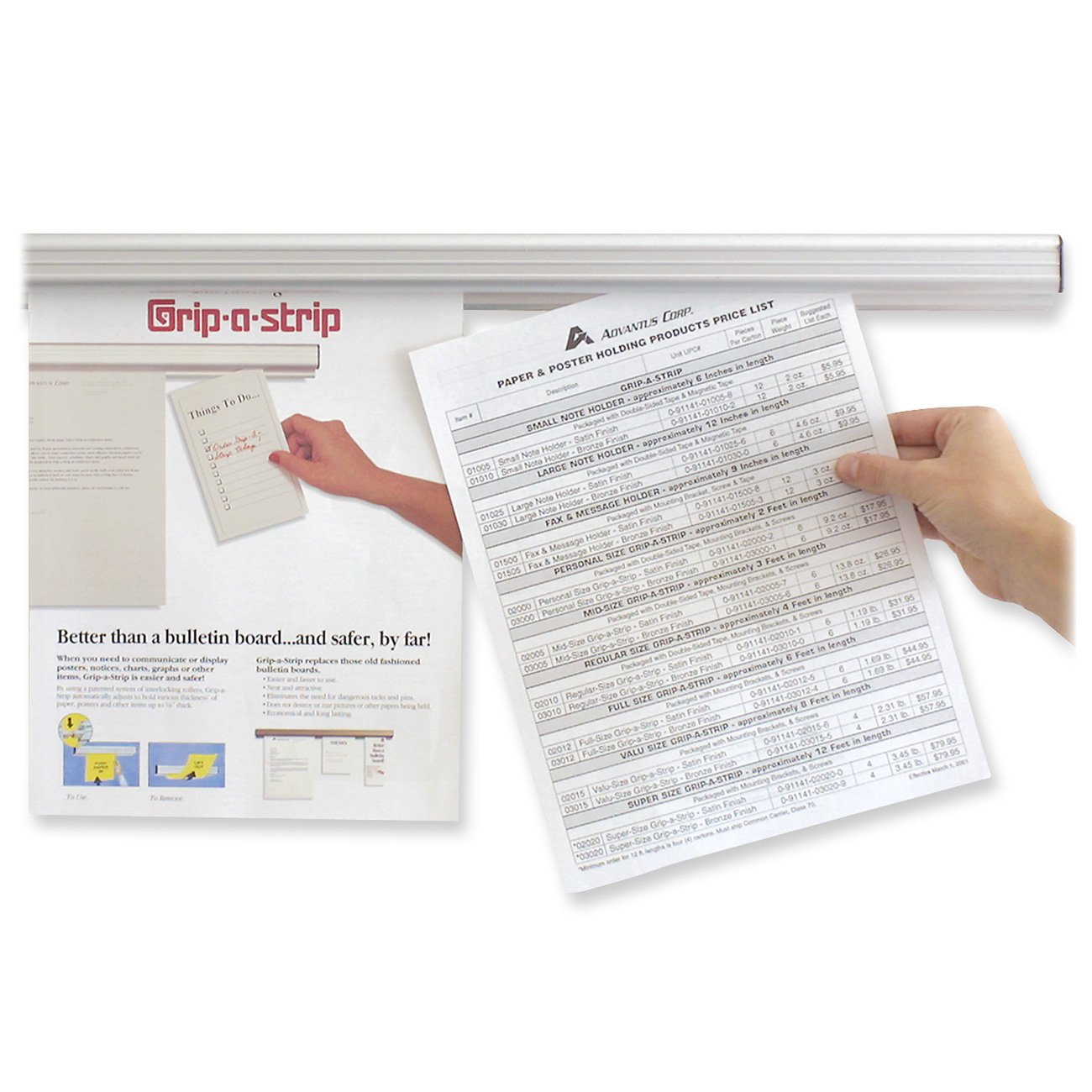 Amazon.com : ADVANTUS Grip-A-Strip Display Rail, Value Size, 8 ...