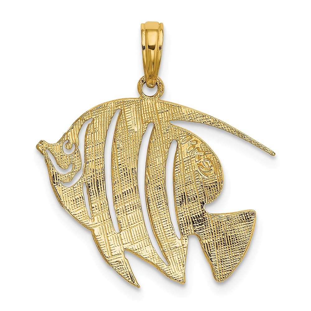 14k Yellow Gold Polished /& Cut-Out Fish Charm