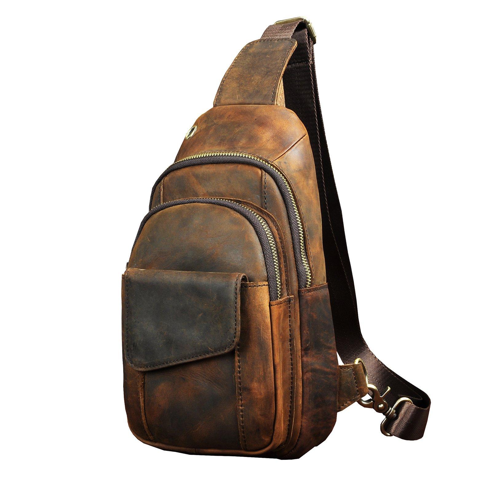 Le'aokuu Men Outdoor Casual Travel Hiking Tea Crossbody Chest Sling Bag Rig One Shoulder Strap Bag Backpack Men Leather (8013 dark brown 2)