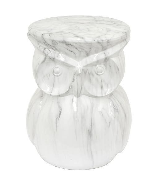 Benzara HRT 66597 Marble Owl Garden Stool