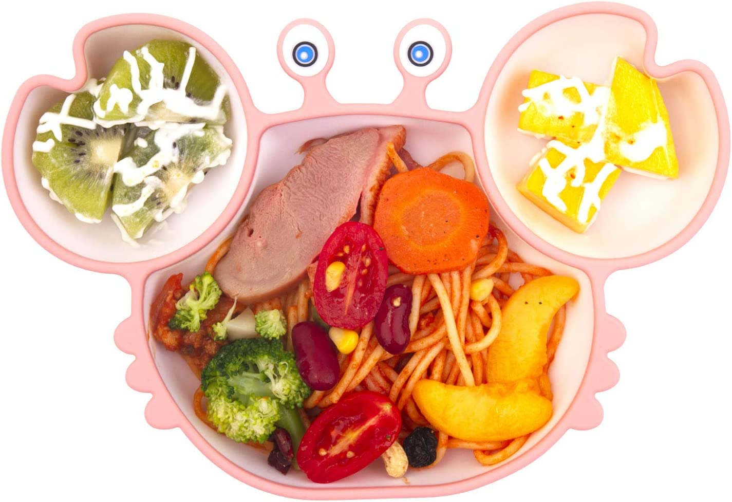 Self Feeding Training Divided Plate Dish and Bowl for Baby and Toddler Silicone Suction Plate for Toddlers BPA Free Microwave Dishwasher Safe Fits for Most Highchairs Trays