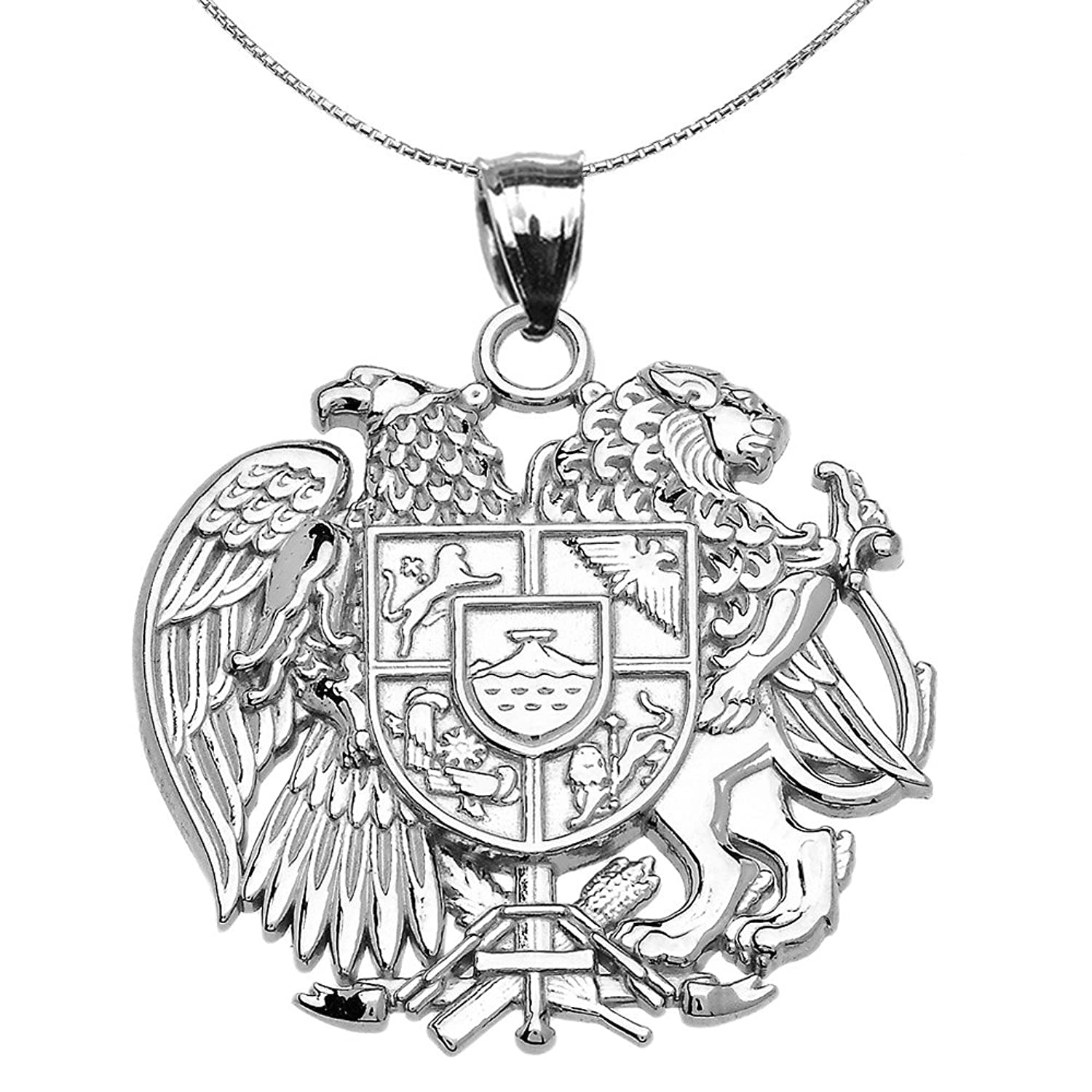 10 KホワイトゴールドArmenian National Coat of Arms Eagle and Lionペンダントネックレス B078BR84W1