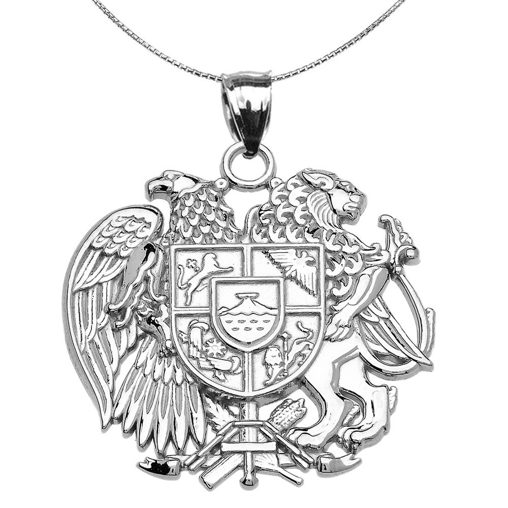 10k White Gold Armenian National Coat Of Arms Eagle and Lion Pendant Necklace, 20''