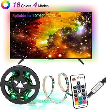 Tiras de luces LED, retroiluminación USB para TV con 16 colores y ...