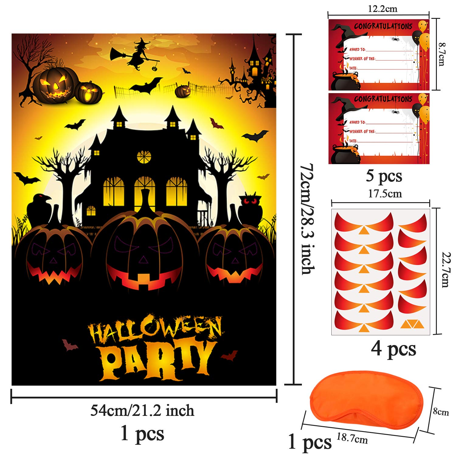 URATOT Halloween Pin Game Pin The Nose and Eyes On The Pumpkin Game Large Halloween Game for Halloween Decorations Kids Birthday Party Supplies Style A