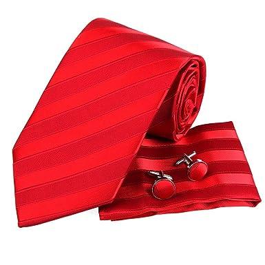 PH1050 Estilo Italiano rojo raya el 100% corbata de seda Pa?uelos ...