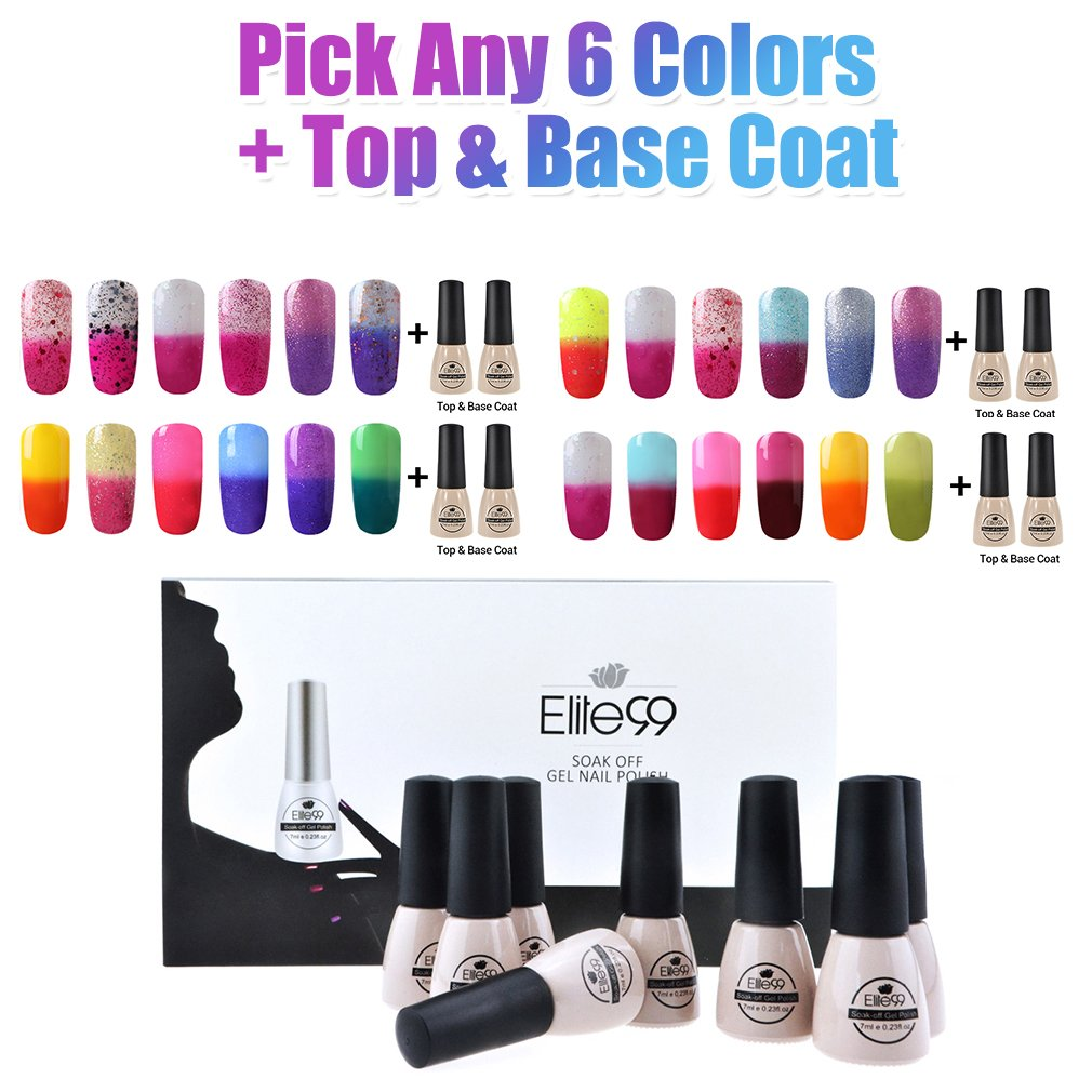 Amazon.com : Elite99 (Pick Any 6 Colors + Top Base Coat Set) Soak ...