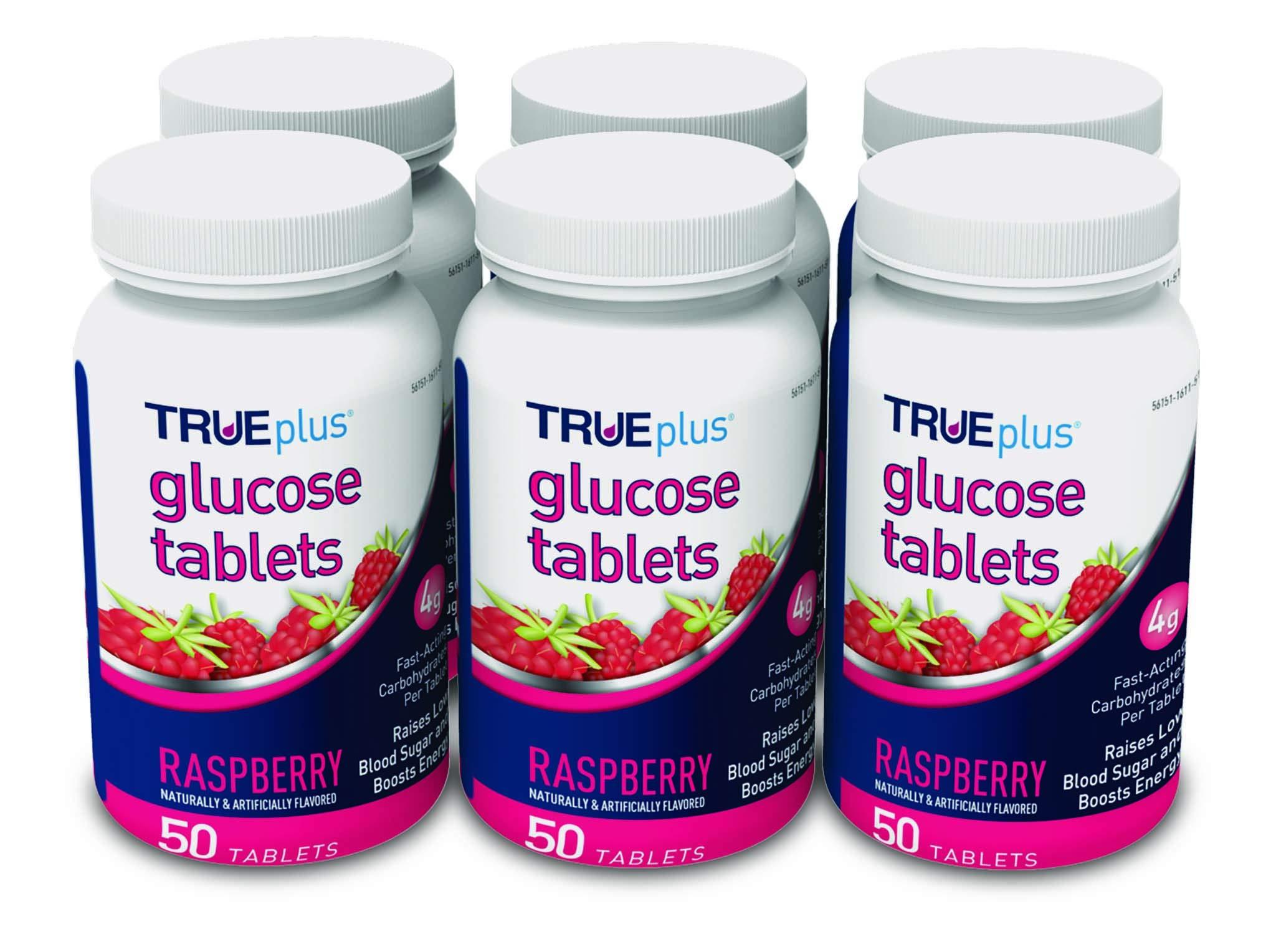 TRUEplus® Glucose Tablets, Raspberry Flavor - 50ct Bottle - 6 Pack by TRUEplus
