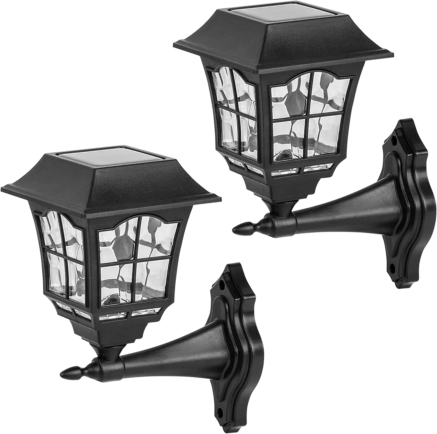 Viewsun 2 Pack Solar Wall Lanterns, Outdoor Solar Lights Wall Sconce Decorative Solar Led Light with Wall Mount Kit for Front Porch, Garden Decor