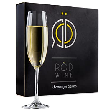 Champagne Glasses Set - Lead Free Titanium Crystal Sparkling Wine Glass, 7.5 oz. Elegant Fluted Glassware - Best For Weddings, Parties and Special Celebrations - The Perfect Gift Idea